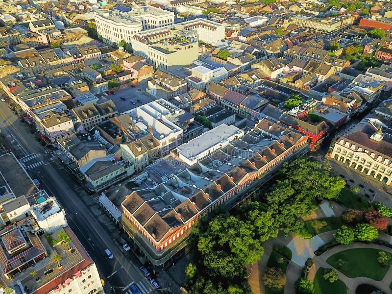 Widok z lotu ptaka historyczna dzielnica francuska w Nowy Orlean, Luizjana, U fotografia royalty free