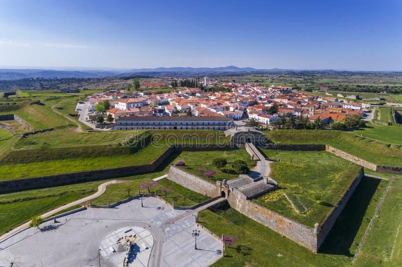 Widok z lotu ptaka historyczna wioska Almeida w Portugalia zdjęcie royalty free