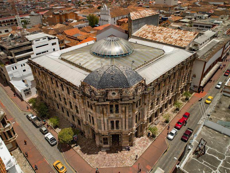 Widok Z Lotu Ptaka Historyczny pałac sprawiedliwość w Cuenca, Ekwador zdjęcie royalty free