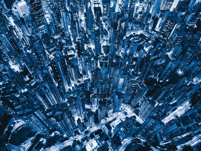 widok z lotu ptaka Hong kong śródmieście Pieniężny okręg i busine ilustracji