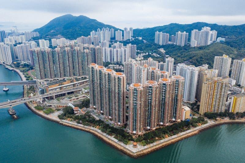 Widok z lotu ptaka Hong Kong gaworzył siedzibę przy Tsing Yi, Hong Kong fotografia stock