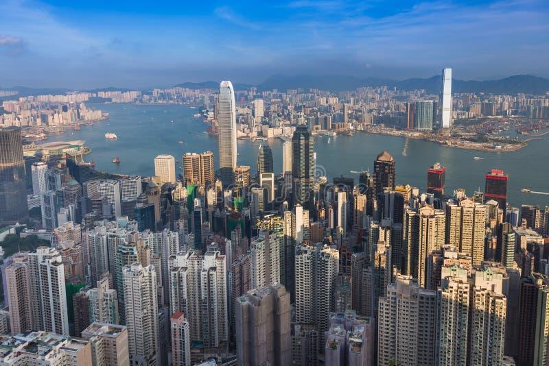Widok z lotu ptaka, Hong Kong miasta śródmieście nad Wiktoria schronieniem obraz royalty free