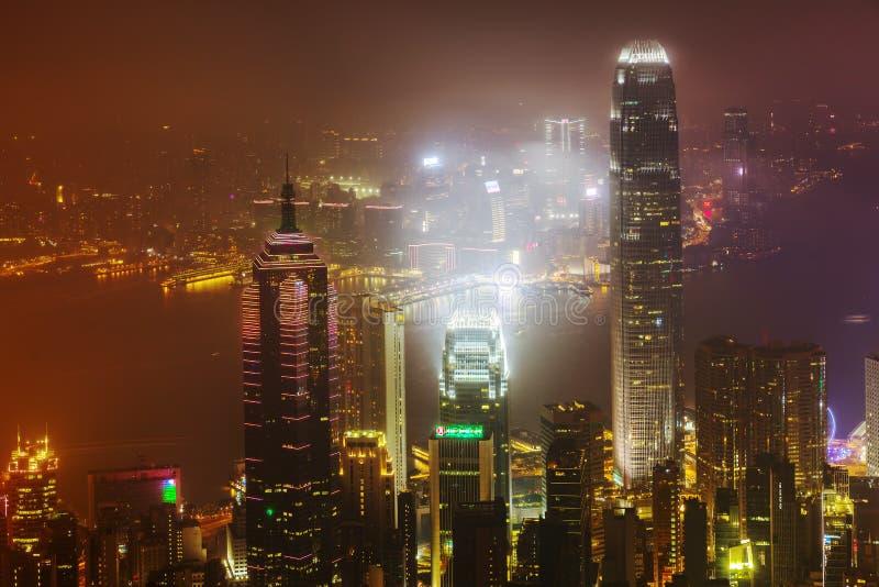 Widok z lotu ptaka Hong Kong przy nocą fotografia royalty free