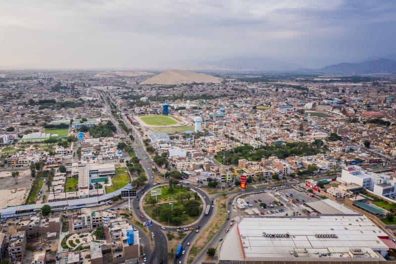 Widok z lotu ptaka Ica miasto w Peru fotografia royalty free