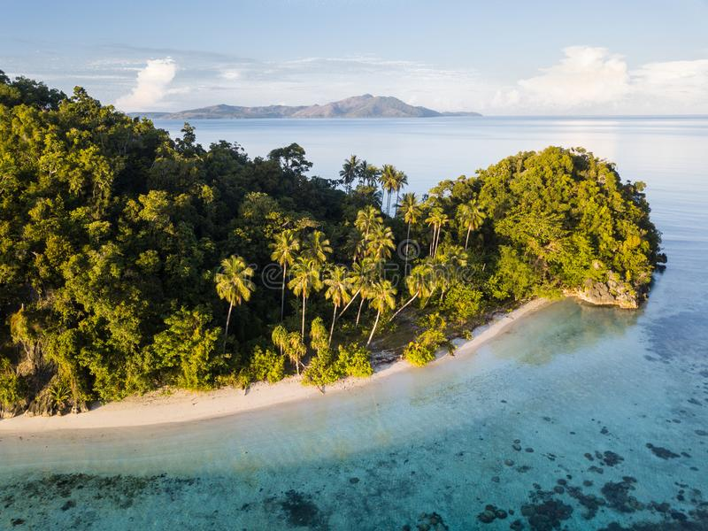 Widok Z Lotu Ptaka Idylliczna wyspa i plaża w Raja Ampat zdjęcia stock