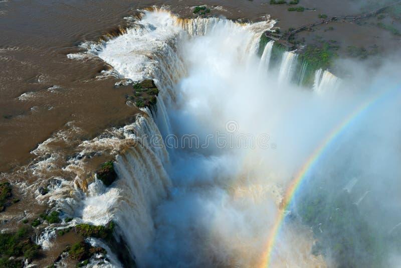 Widok z lotu ptaka Iguazu spadki obraz stock