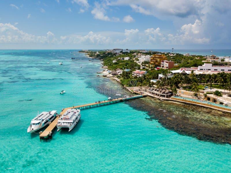 Widok z lotu ptaka Isla Mujeres w Cancun, Meksyk zdjęcie royalty free