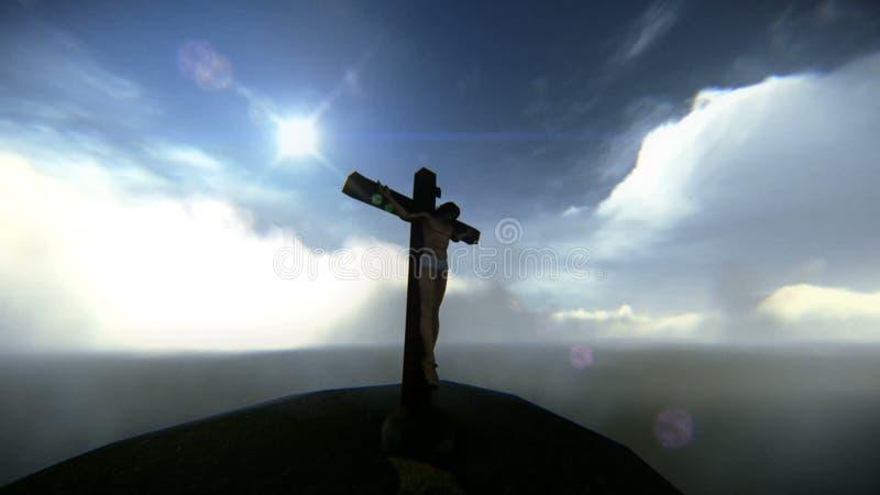 Widok z lotu ptaka Jezusowy ukrzyżowany materiał filmowy ilustracja wektor