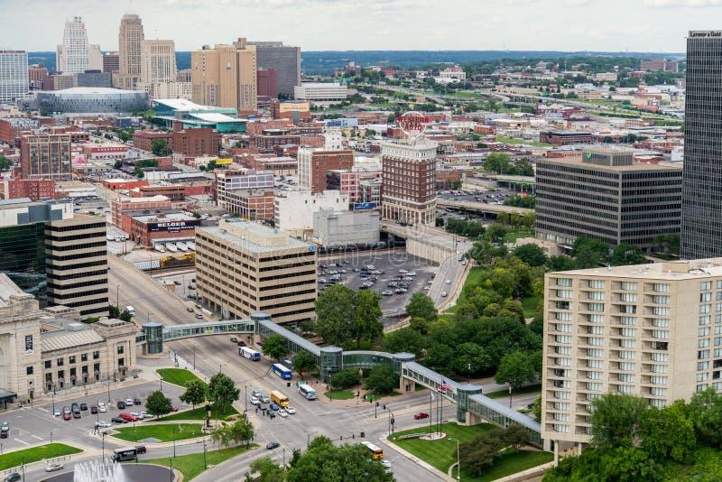 Widok z lotu ptaka Kansas miasto Missouri obrazy stock