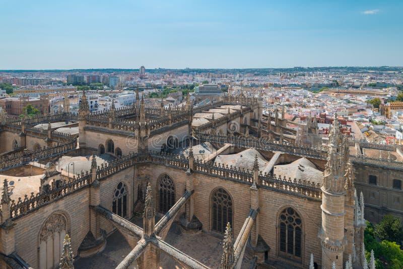 Widok z lotu ptaka katedra Sevilla od losu angeles Giralda, Sevilla obraz royalty free