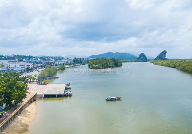 Widok z lotu ptaka Khao Khanap Nam, Krabi obrazy royalty free