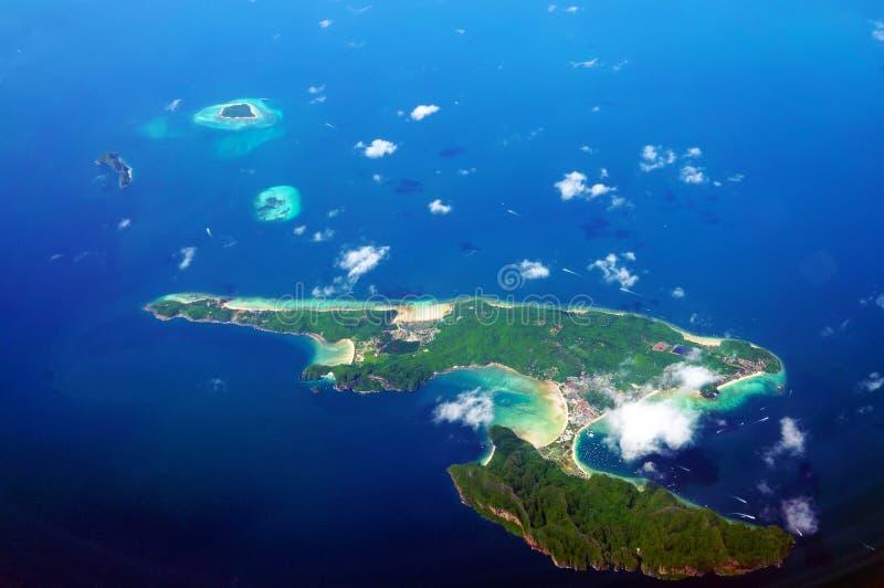 Widok z lotu ptaka Koh Phi Phi obrazy royalty free