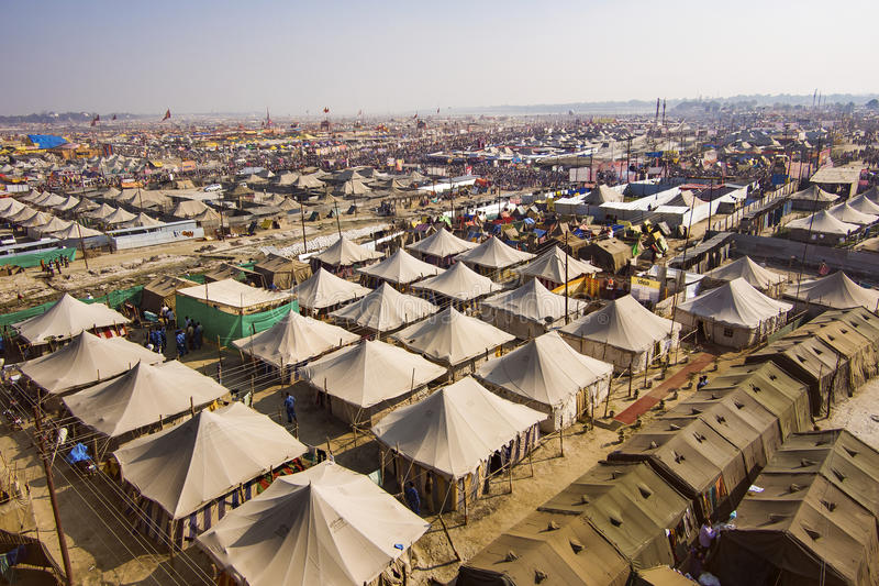 Widok Z Lotu Ptaka Kumbh Mela festiwal w Allahabad, India obrazy royalty free