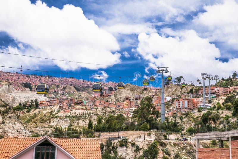 Widok z lotu ptaka La Paz z teleferico Cable Boliwia obraz royalty free