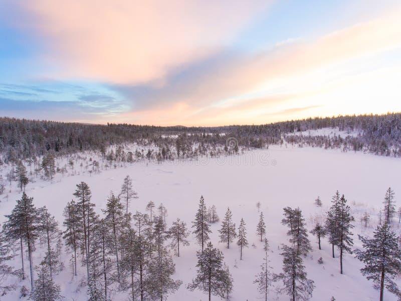 Widok z lotu ptaka Lapland zimy krajobraz obrazy royalty free