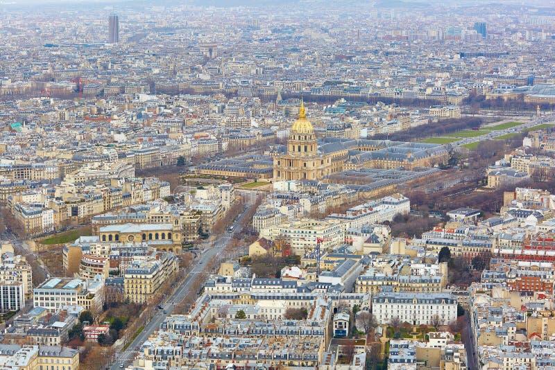 Widok z lotu ptaka Les Invalides w Paryż obrazy royalty free