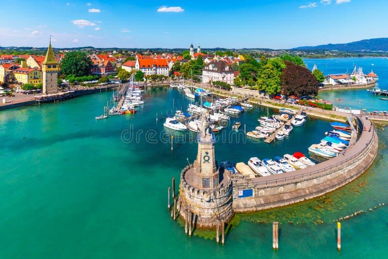 Widok z lotu ptaka Lindau, Bodensee, Niemcy obraz royalty free