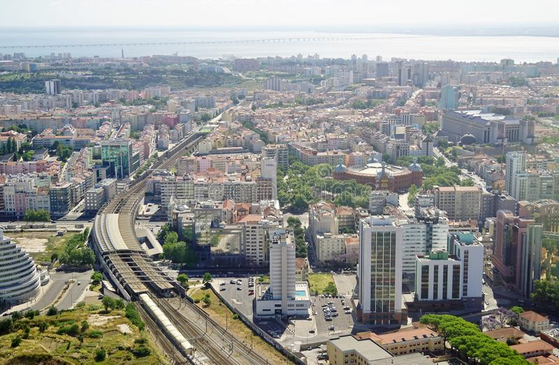 Widok z lotu ptaka Lisbon kapitał Portugalia fotografia royalty free