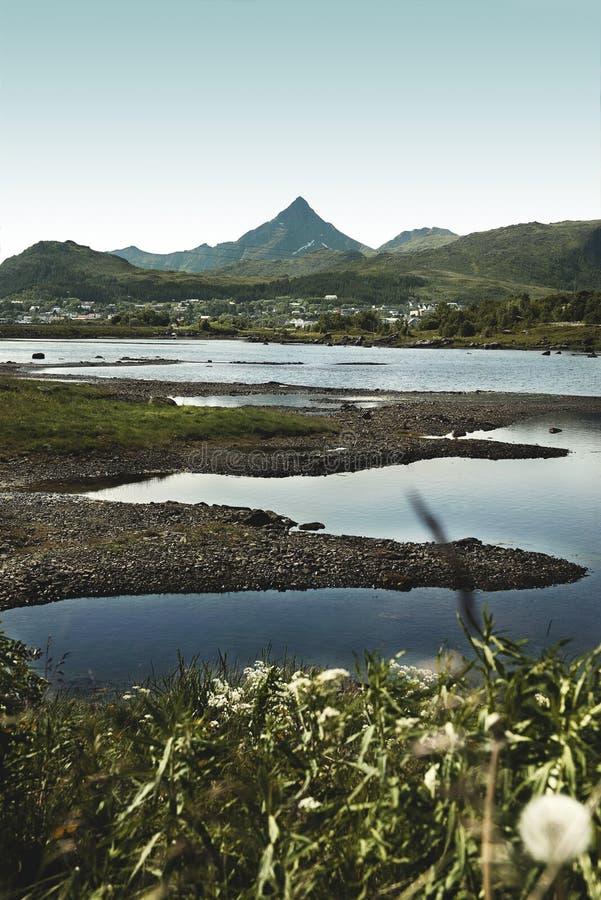 Widok z lotu ptaka Lofoten wyspy w Norwegia zdjęcie stock