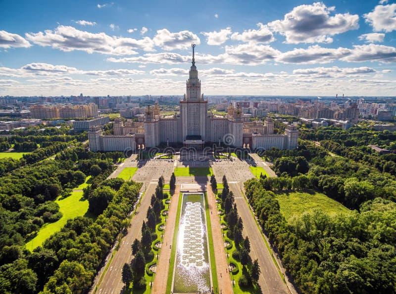 Widok z lotu ptaka Lomonosov Moskwa stanu uniwersytet, Moskwa fotografia royalty free