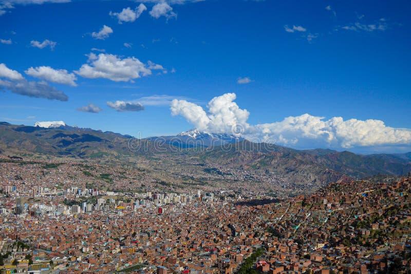 Widok z lotu ptaka losu angeles Paz miasto w Boliwia fotografia stock