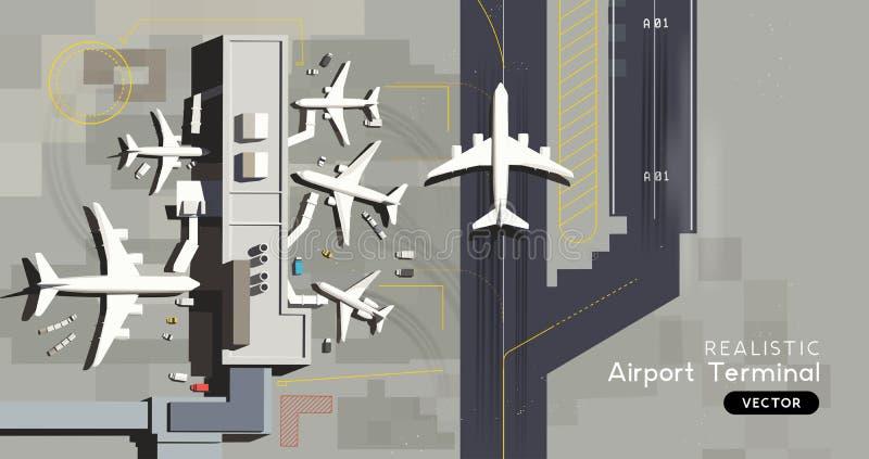 Widok Z Lotu Ptaka - Lotniskowy Śmiertelnie, przyjazdy I odjazdów samoloty royalty ilustracja