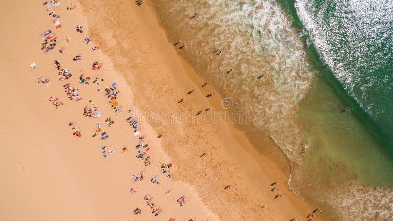 Widok z lotu ptaka ludzie odpoczywa na pięknej plaży blisko oceanu, Portugalia zdjęcie stock
