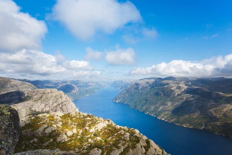 Widok z lotu ptaka Lysefjord obrazy royalty free