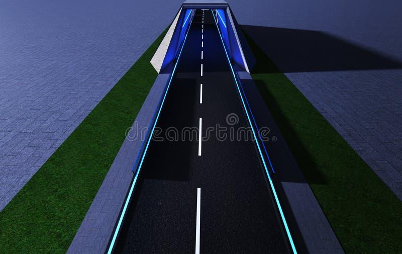 Widok z lotu ptaka mądrze tunel z neonowym światłem, royalty ilustracja