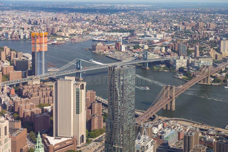Widok z lotu ptaka Manhattan linia horyzontu na pogodnym letnim dniu zdjęcia stock