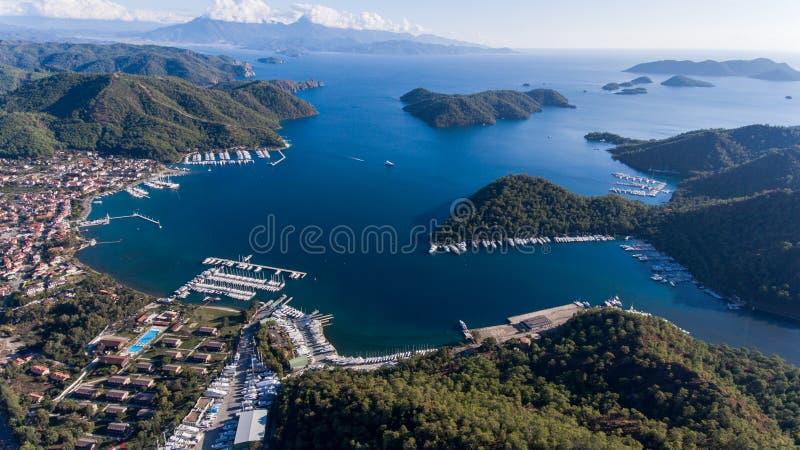 Widok z lotu ptaka marina, Gocek, Fethiye, Turcja zdjęcie royalty free