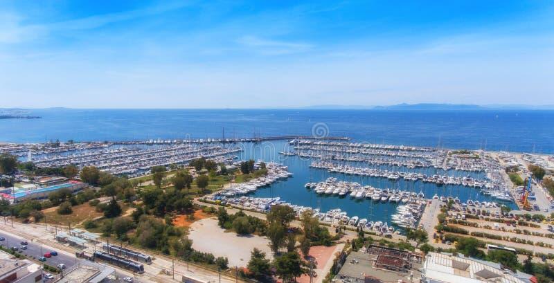 Widok z lotu ptaka marina w Ateny, Grecja zdjęcia stock