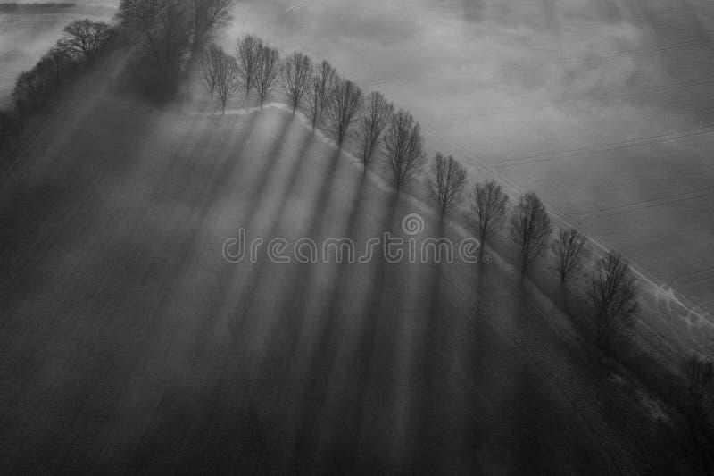 Widok z lotu ptaka mglisty krajobraz, Suffolk, UK obraz stock