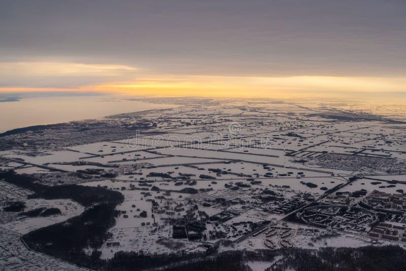 Widok z lotu ptaka miasto w kazach stepie zdjęcia stock