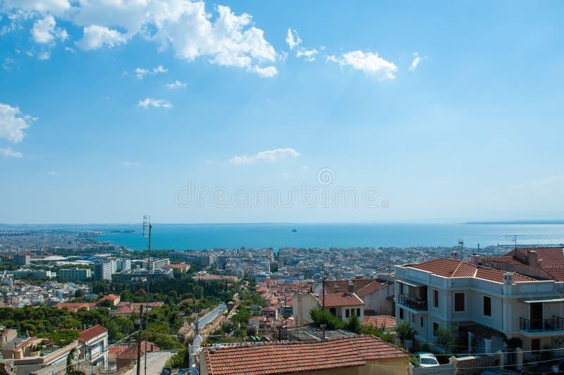 Widok z lotu ptaka miasto w północny grek obraz royalty free