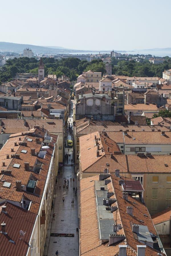 Widok z lotu ptaka miasto Zadar, Chorwacja zdjęcia stock