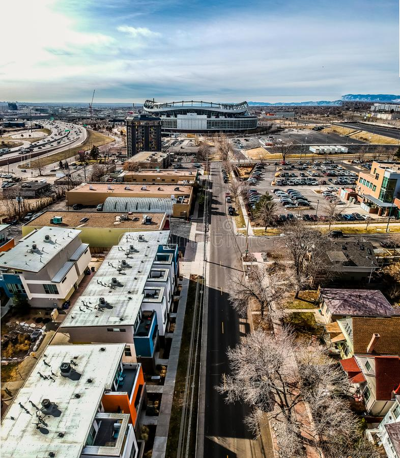 Widok z lotu ptaka Mile High Stadium, Denver, Kolorado obraz stock