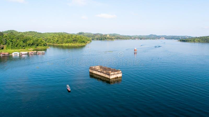 Widok z lotu ptaka Mon most przy Sangkhlaburi Kanchanaburi Tajlandia obraz stock