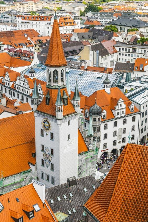 Widok z lotu ptaka Monachium centrum miasta od wierza stary urząd miasta obraz stock