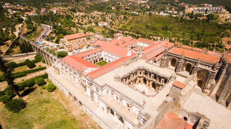 Widok z lotu ptaka monasteru klasztor Chrystus w Tomar, Portugalia obrazy stock