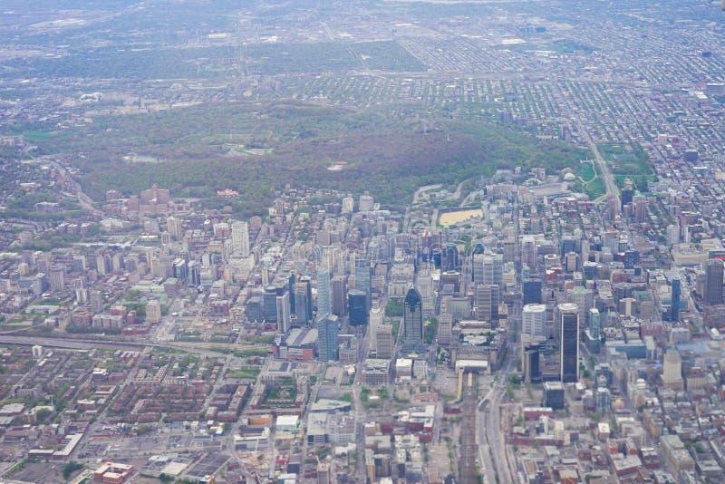 Widok z lotu ptaka Montreal śródmieście obrazy royalty free
