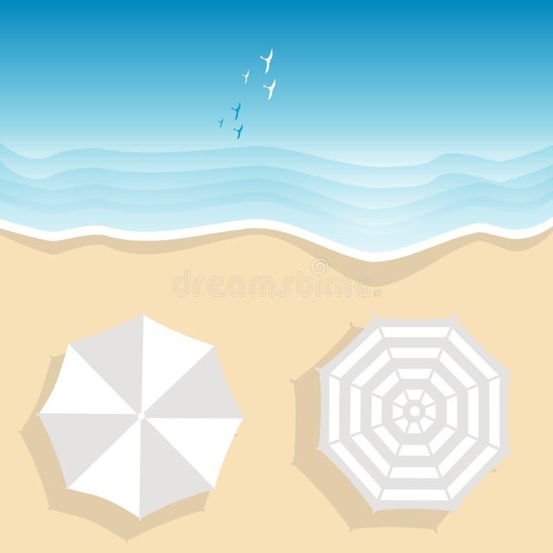 Widok z lotu ptaka morze plaża z dwa plażowymi parasolami ilustracja wektor