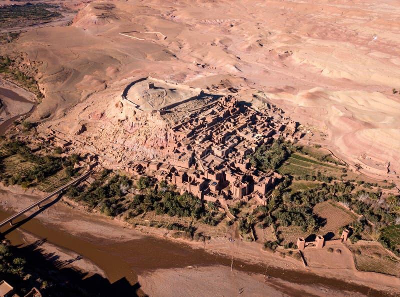 Widok z lotu ptaka na Ait Ben Haddou w Maroko obrazy stock