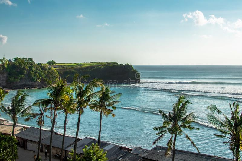 Widok Z Lotu Ptaka na Bali plaży i drodze wodnej, ocean indyjski obraz stock