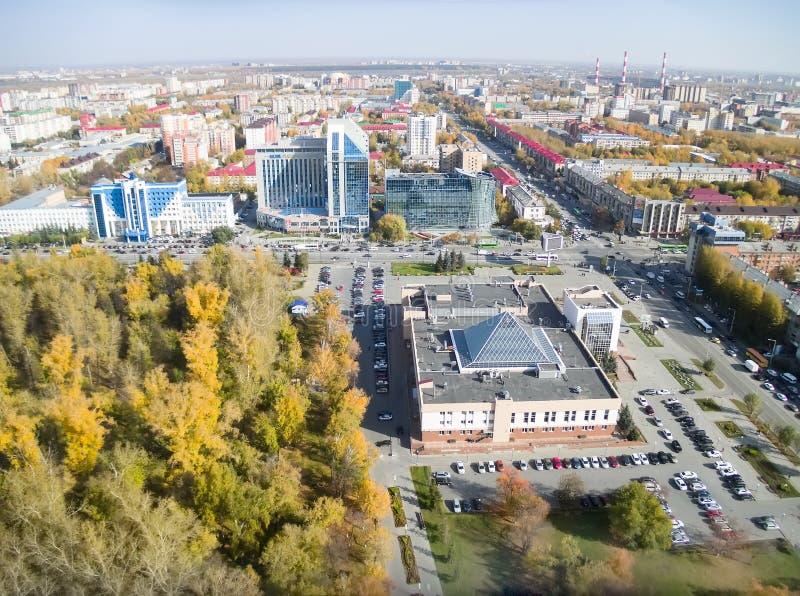 Widok z lotu ptaka na budynkach biurowych w Tyumen Rosja obrazy royalty free