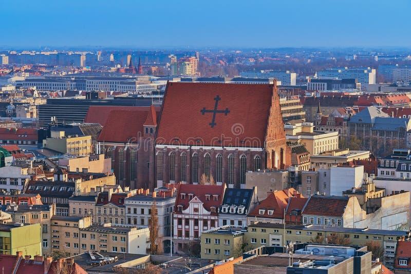 Widok z lotu ptaka na centrum Wrocławia, Polska fotografia stock