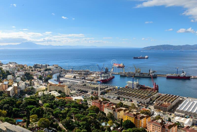 Widok z lotu ptaka na Gibraltar od swój skały fotografia royalty free