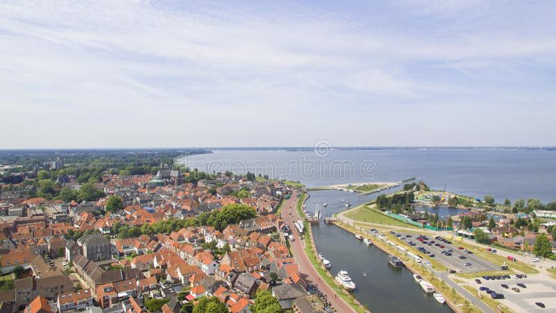 Widok z lotu ptaka na Harderwijk obrazy royalty free