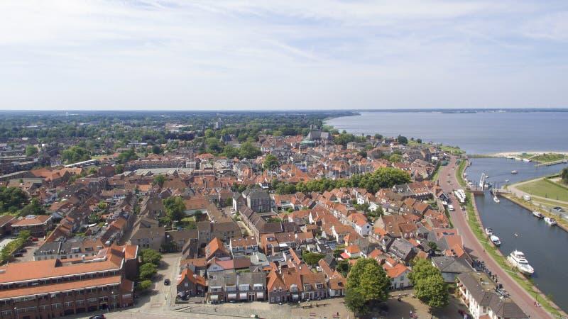 Widok z lotu ptaka na Harderwijk obraz stock