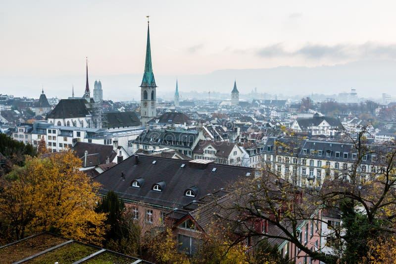 Widok Z Lotu Ptaka na Kafelkowych dachach i kościół Zurich fotografia stock